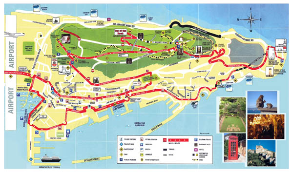 Detailed tourist map of Gibraltar. Gibraltar detailed tourist map.