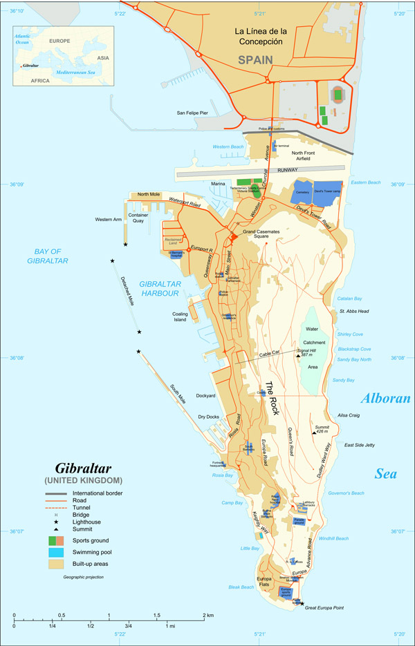 Large detailed map of Gibraltar with buildings.