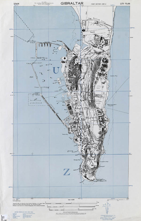 Large detailed topographic map of Gibraltar with buildings.