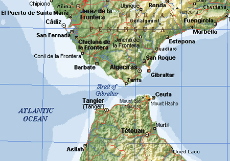 Topographical map of Gibraltar Gibraltar topographical map