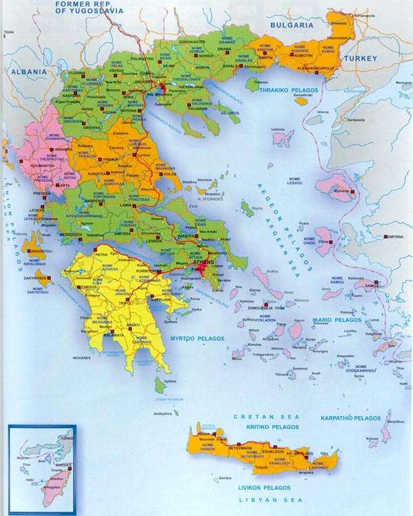 Detailed administrative map of Greece. Greece detailed administrative map.