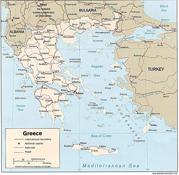 Detailed political map of Greece with cities and roads.