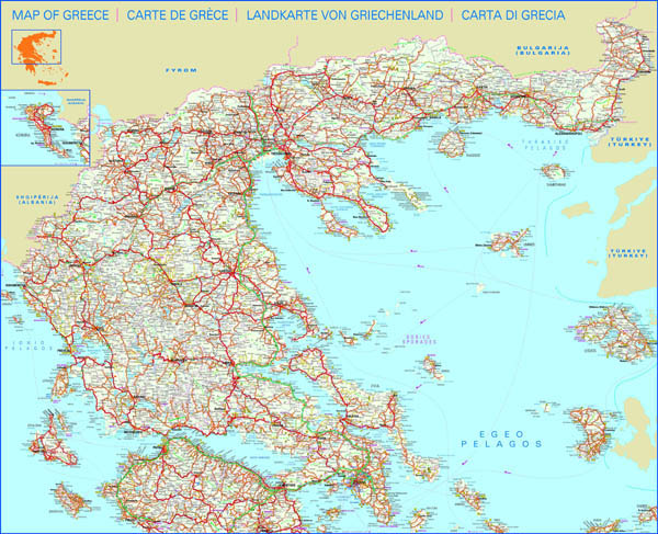 Detailed road map of Greece. Greece detailed road map.