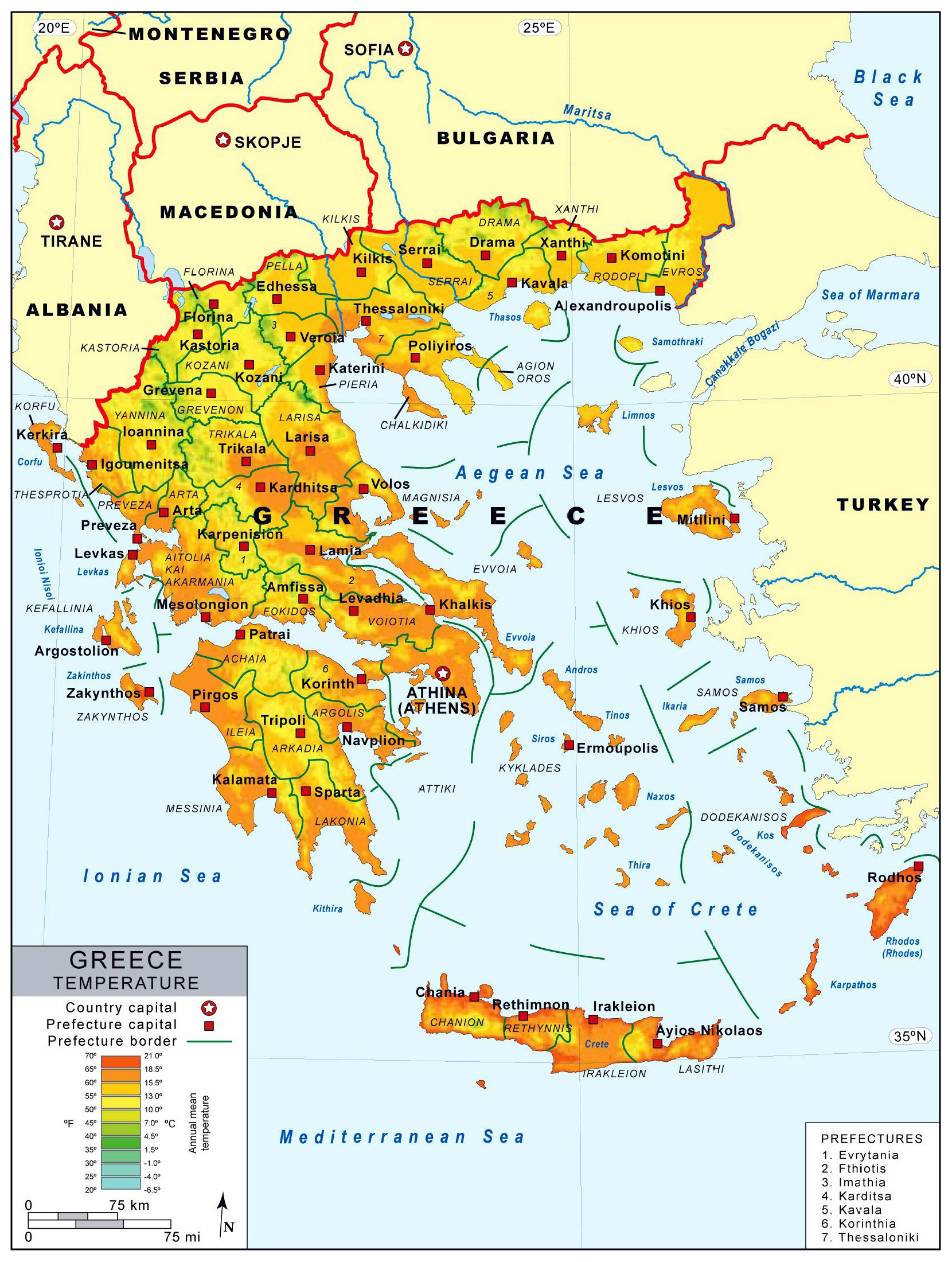 Detailed temperature map of Greece with prefectures and major cities