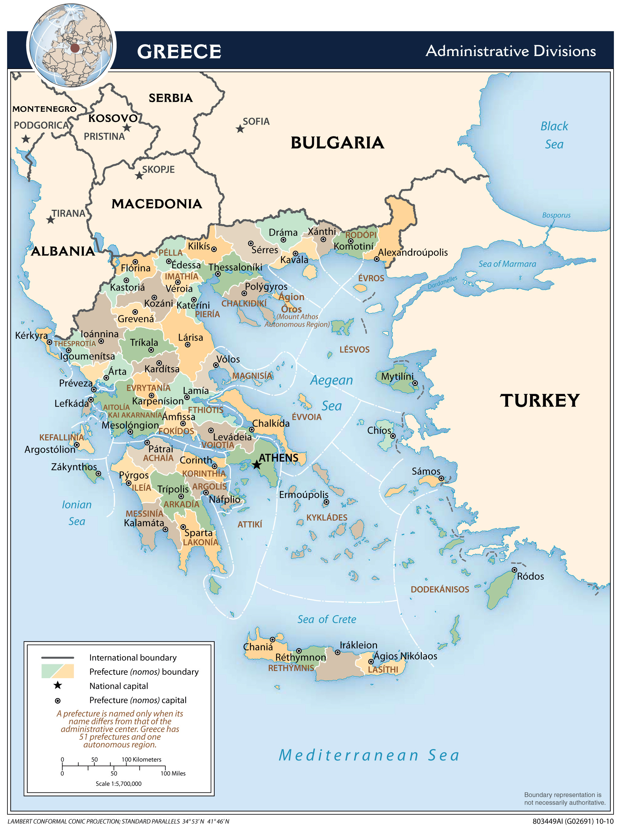 Large detailed administrative divisions map of Greece Greece large