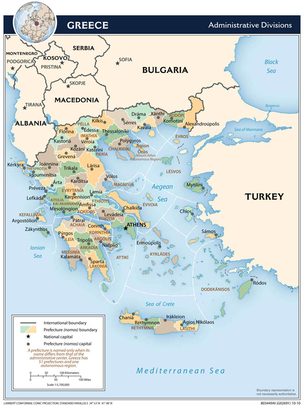 Large detailed administrative divisions map of Greece.