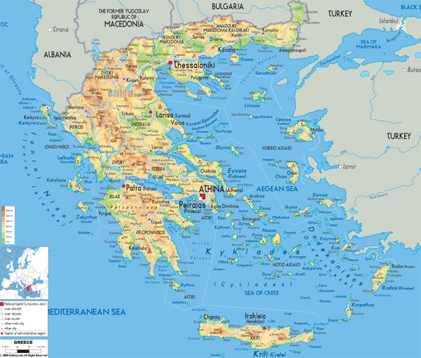 Large detailed physical map of Greece with all cities, roads and airports.
