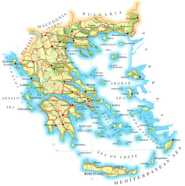 Large detailed physical map of Greece with cities, roads and airports.