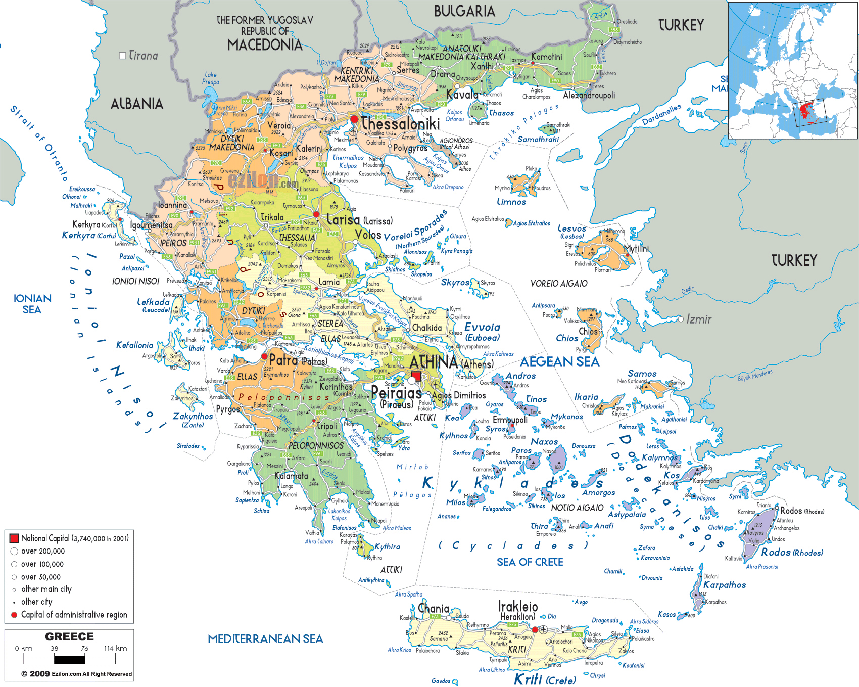 Large detailed political and administrative map of Greece with all