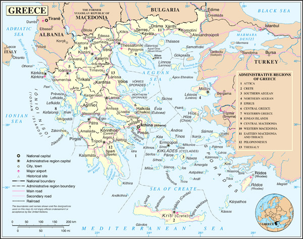 Large detailed political and administrative map of Greece with cities, roads and airports.