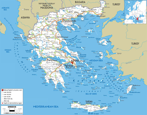 Large detailed road map of Greece with all cities and airports.