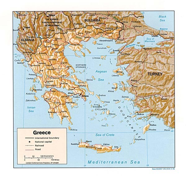 Relief map of Greece. Greece relief map.