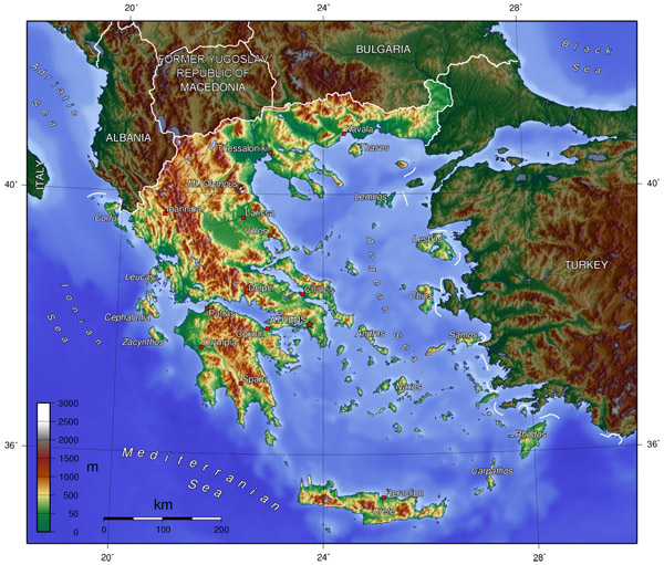 Topographical map of Greece. Greece topographical map.