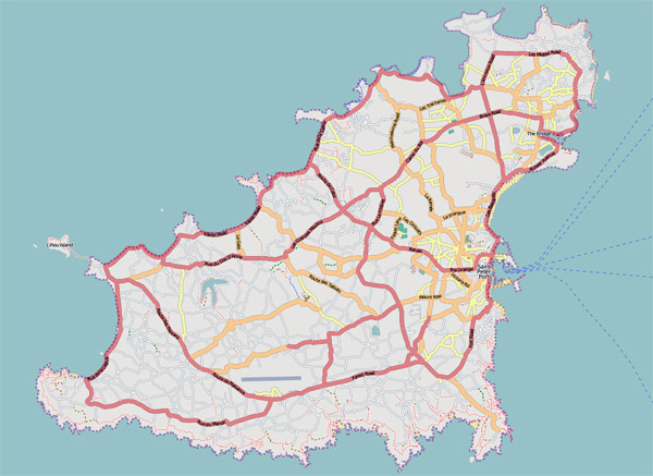 Road map of Guernsey. Guernsey road map.