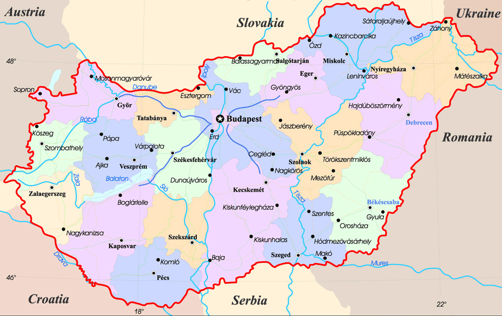 Administrative map of Hungary Hungary administrative map Vidiani