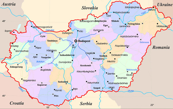 Administrative map of Hungary. Hungary administrative map.