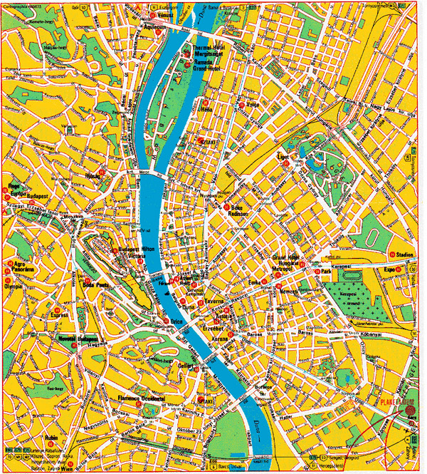 Large detailed hotels map of Budapest city center.