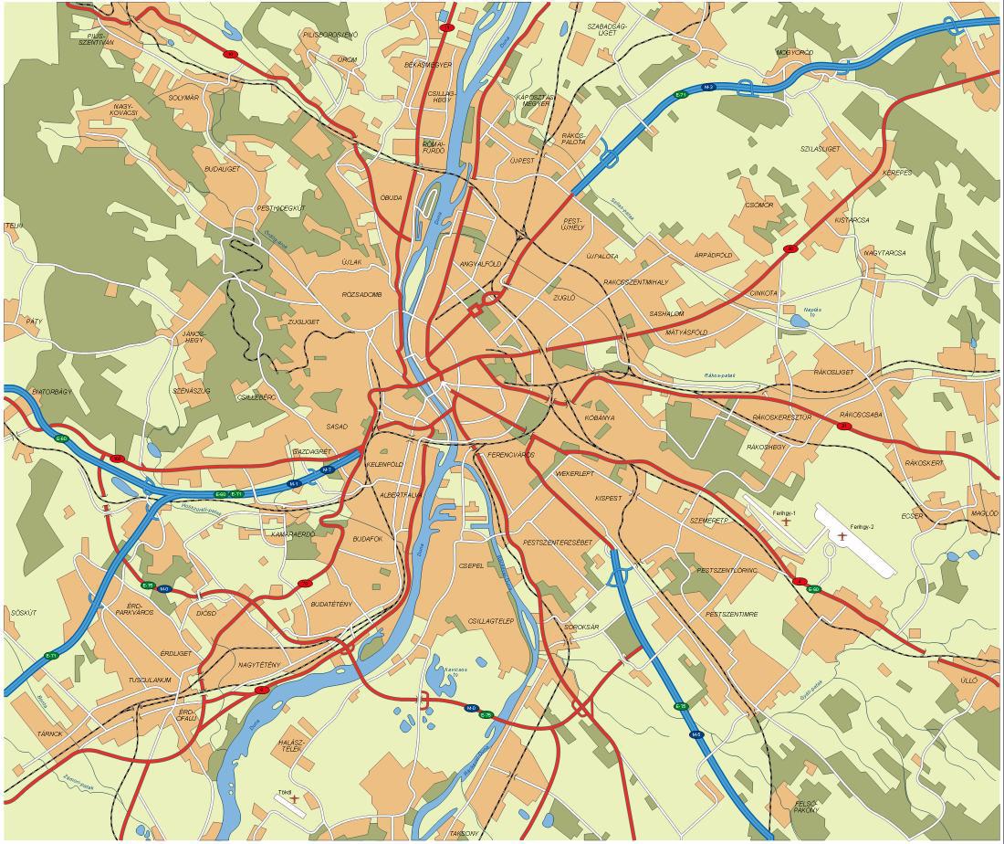 Large Detailed Map Of Budapest City Budapest City Large