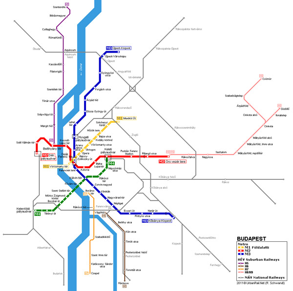 Large detailed metro map of Budapest city. Budapest city large detailed metro map.