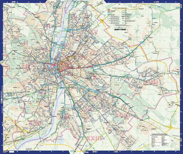 Large detailed public transport map of Budapest city.