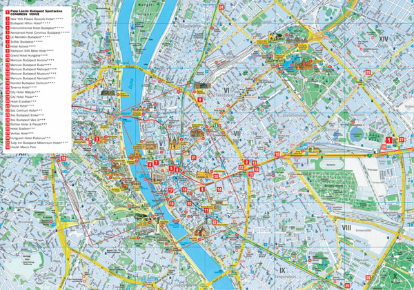 Large detailed tourist and hotels map of Budapest city.