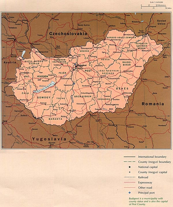 Detailed administrative map of Hungary. Hungary detailed administrative map.