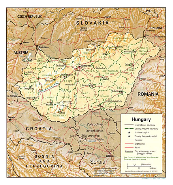 Detailed political and administrative map of Hungary with relief, roads and major cities - 1994.