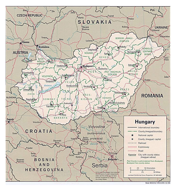Detailed political and administrative map of Hungary with roads and major cities - 1994.