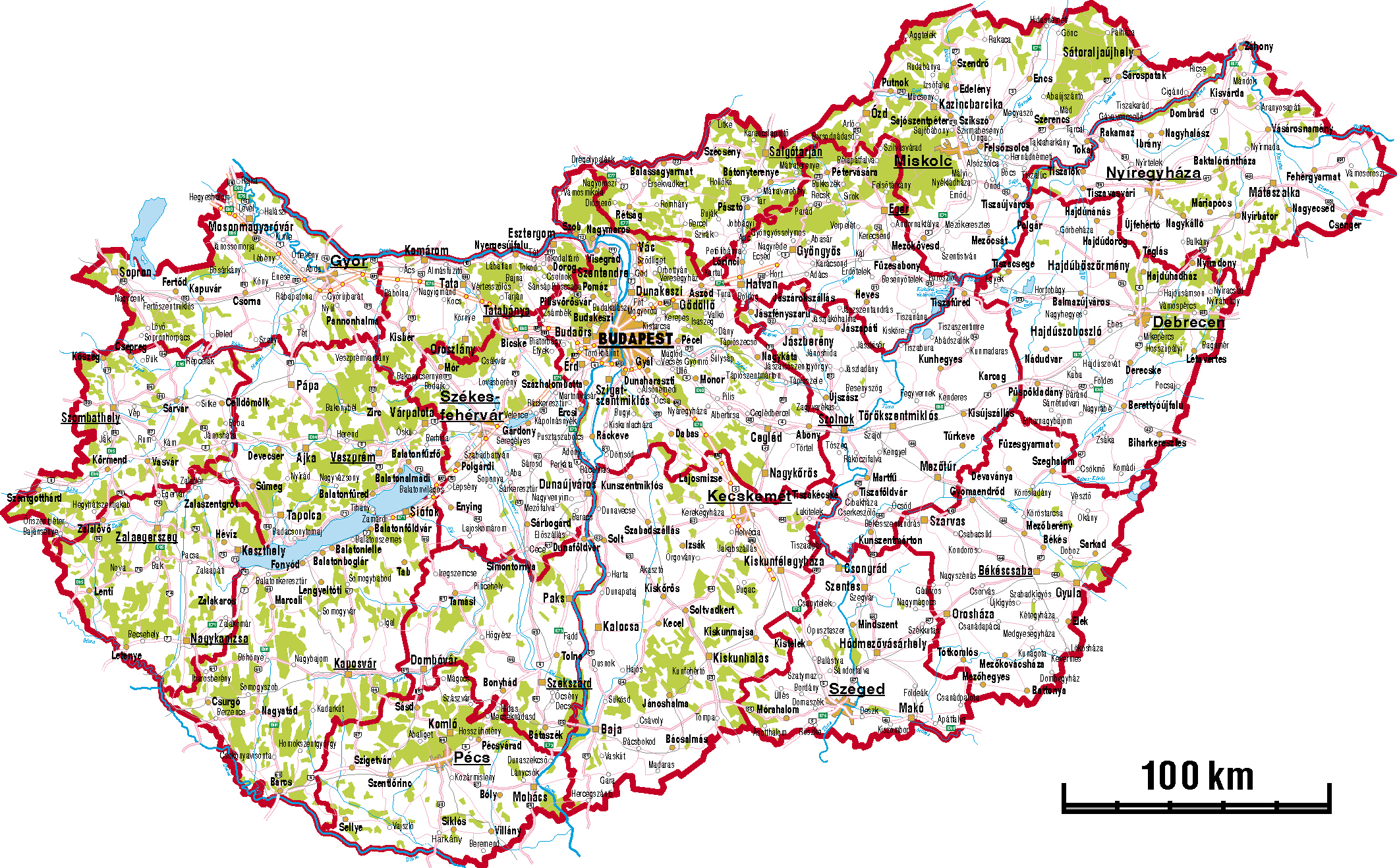Detailed Road Map Of Hungary. Hungary Detailed Road Map.  Blank Road Map