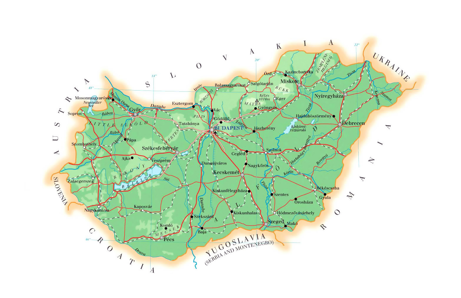 Large Detailed Physical Map Of Hungary With Cities Roads And Airports Vidiani Com Maps Of All Countries In One Place