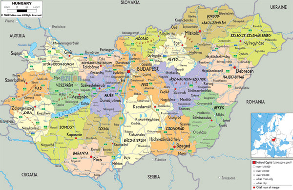 Large detailed political and administrative map of Hungary with all cities, roads and airports.