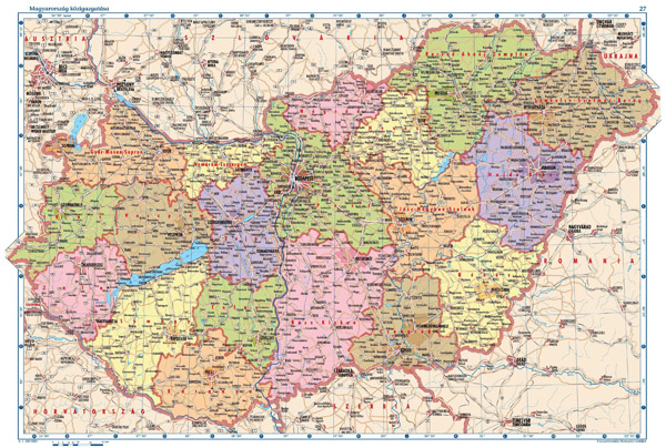 Large detailed political and administrative map of Hungary with all cities, villages, roads, highways and airports.