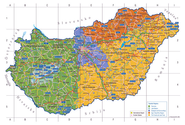 Large detailed touristic regions map of Hungary.