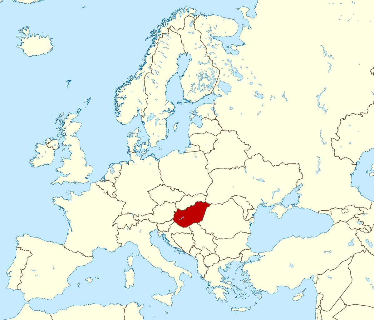 map of europe with hungary Large location map of Hungary in Europe | Vidiani.| Maps of