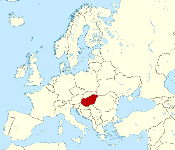 Large location map of Hungary in Europe.