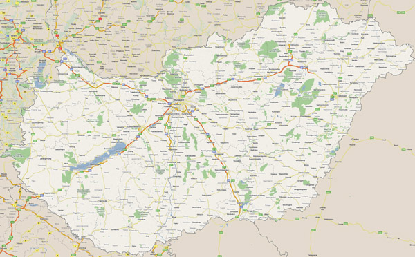 Large road map of Hungary with all cities.