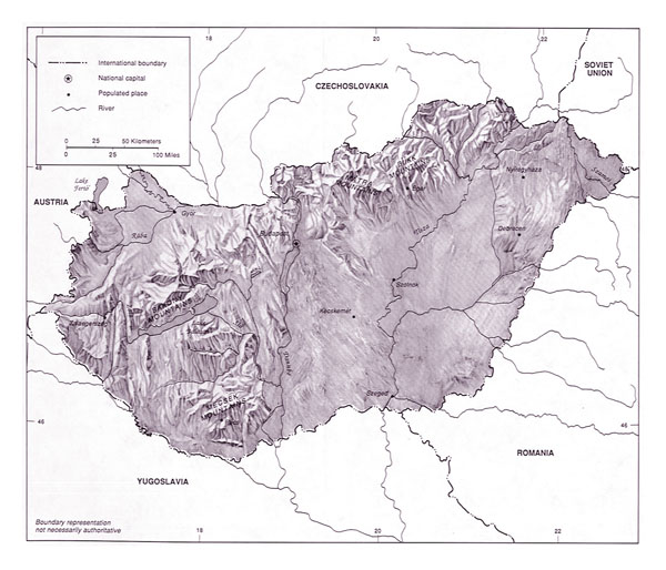 Large topographical map of Hungary.