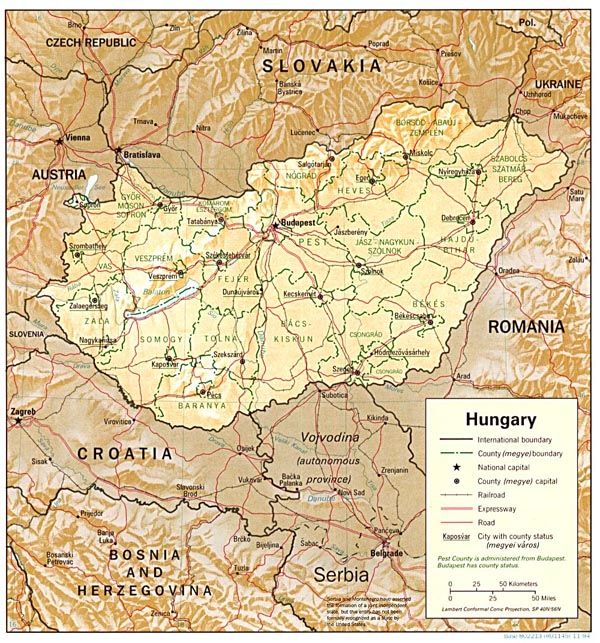 Relief map of Hungary. Hungary relief map.