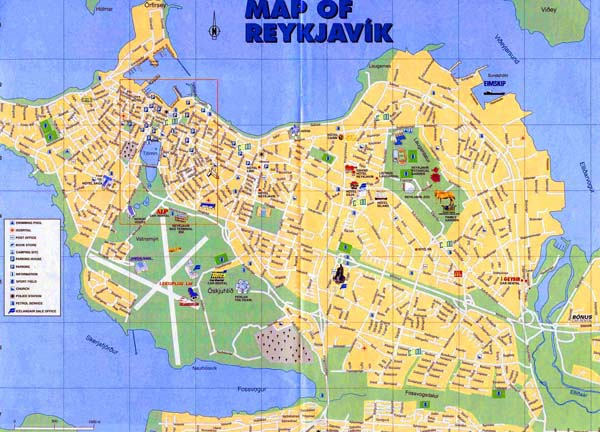 Detailed map of Reykjavik city. Reykjavik city detailed map.