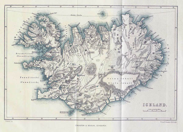 Detailed old map of Iceland. Iceland detailed old map.