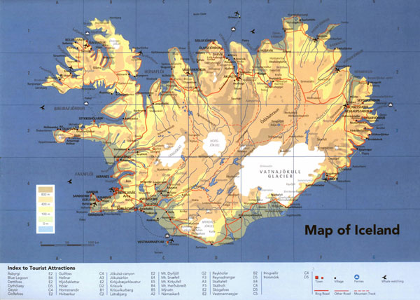 Detailed physical map of Iceland with roads cities and airports.