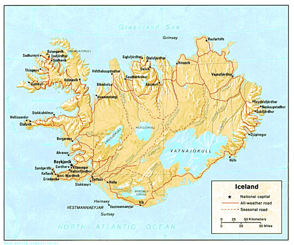 Detailed political map of Iceland with relief.