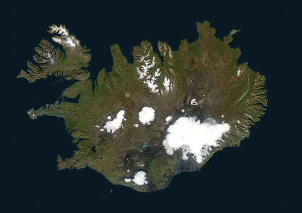 Detailed satellite map of Iceland. Iceland detailed satellite map.
