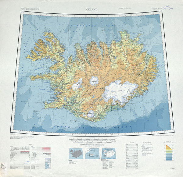 Detailed topographical map of Iceland. Iceand detailed topographical map.