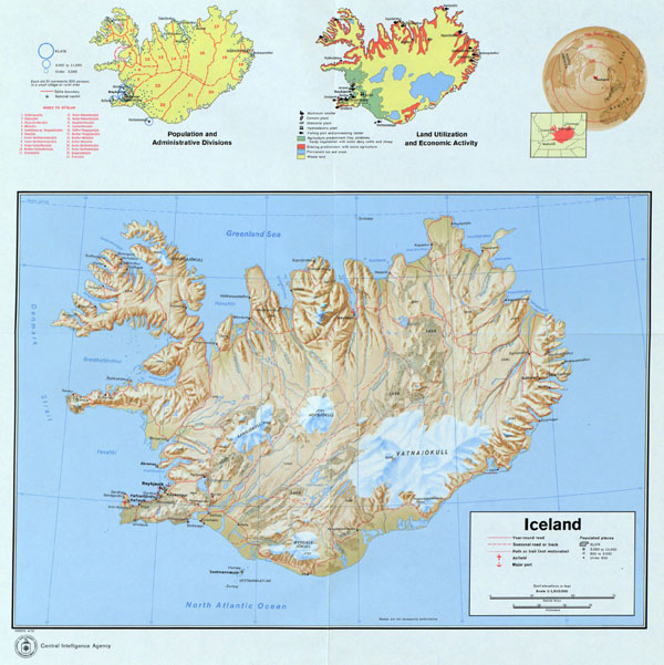 Iceland large detailed map with relief, roads, cities, airports and seaports - 1973.
