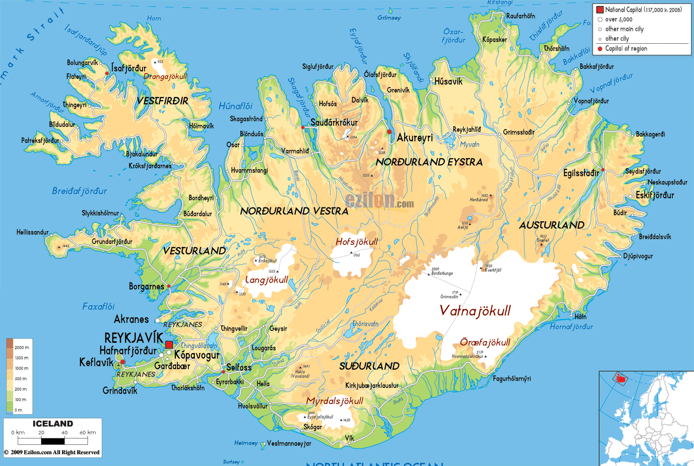 Large detailed physical map of Iceland with all roads cities and – Iceland Tourist Map