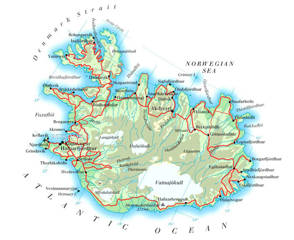 Large detailed physical map of Iceland with cities, roads and airports