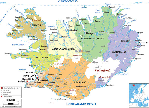 Large detailed political and administrative map of Iceland with all roads, cities and airports.