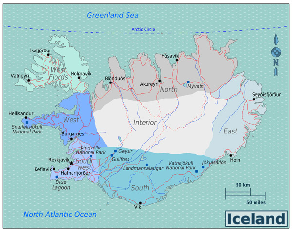 Large detailed regions map of Iceland.