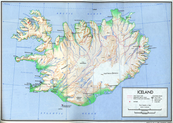 Large detailed relief map of Iceland with roads and cities.